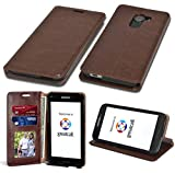 Fit GreatCall Jitterbug Smart 2 Wallet, Phonelicious PU Leather Case Premium Pouch ID Credit Card Phone Cover Flip Folio Book Style with Money Slot + Pen (Brown fold)