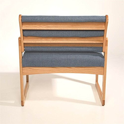 Sled Base Bariatric Office Guest Chair in Solid Oak w Light Finish (Powder Blue) by Wooden Mallet (Image #2)