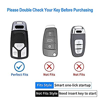 Longzheyu for Audi Key Fob Cover, Special Soft TPU Key Case Cover Protector Compatible with Audi A4 Q7 Q5 TT A3 A6 SQ5 R8 S5 Smart Key(Blue): Automotive
