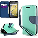 CoverON® for Motorola Moto E (2nd Gen, 2015) Wallet Case [CarryAll Series] Flip Credit Card Phone Cover Pouch with Screen Protector and Wristlet Strap (Will Not Fit Moto E 1st Gen.) - ( Teal / Navy Blue )