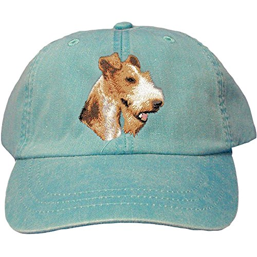 Cherrybrook Dog Breed Embroidered Adams Cotton Twill Caps - Caribbean Blue - Wire Fox Terrier