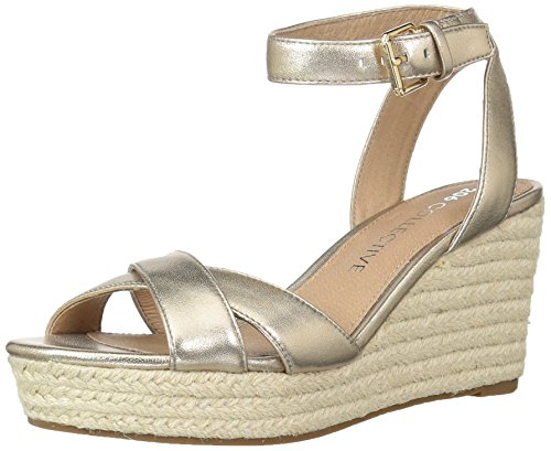 - Amazon Brand - 206 Collective Women's Campbell Espadrille Dress Wedge-High Sandal, gold leather, 9 B US