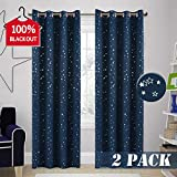 100% Blackout Bedroom Curtain Navy Stars Curtain - Naptime Essential Universe Night Sky Window Treatment for Baby Nursery Thermal Insulated Grommet Kids Room Curtain (2-Pack, 52 by 84 Inch)