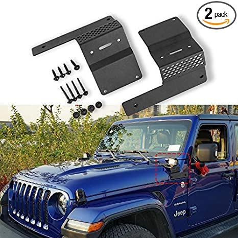 Heqiang Two Pcs A Pillar Mount Brackets For Led Light Bar Work Lights Fit Jeep Wrangler Jl 2018 2019 No Drilling Required