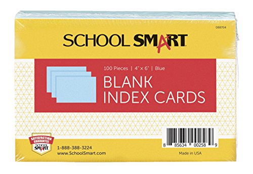 School Smart Heavyweight Plain Index Cards - 4 x 6 inches - Pack of 100 - Blue
