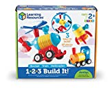 Learning Resources 1-2-3 Build It! Rocket, Train, Helicopter, 15 Pieces
