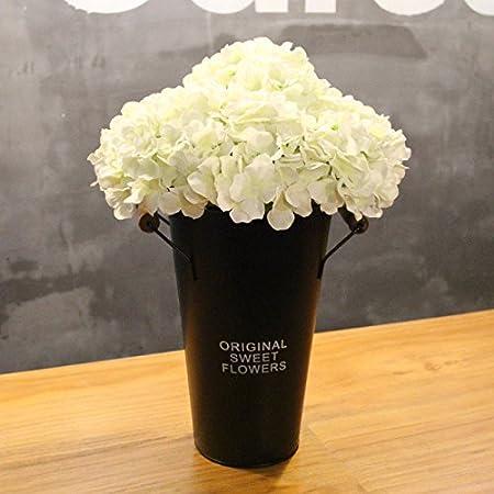 Hctina artificial fake flower hydrangea office white black flower hctina artificial fake flower hydrangea office white black flower buckets plant potted mightylinksfo