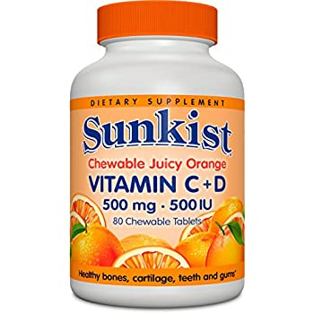 amazon   sunkist vitamin c and d chewable tablets 500