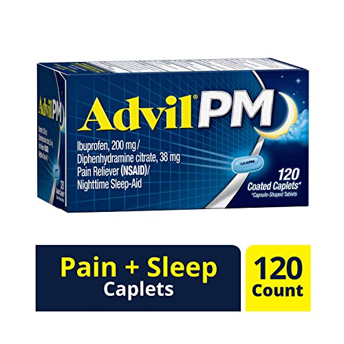 Advil PM (120 Count) Pain Reliever/Nighttime Sleep Aid Coated Caplet, 200mg Ibuprofen, 38mg - Caplets Relief Coated