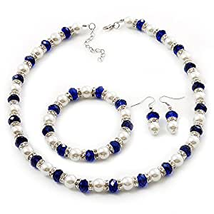 Amazon.com: White & Royal Blue Imitation Pearl Bead With
