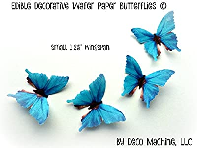 """24 TEAL BLUE AQUA Small 1.25"""" Edible Image Decorative Wafer Paper Butterflies © Butterfly Wedding Cake Cupcake Topper"""