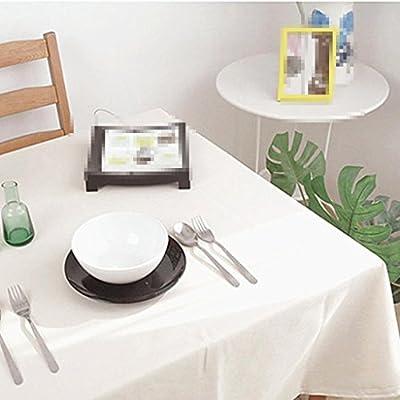Manteles blancos, manteles, manteles simples de algodón de tela, manteles de mesa , 140*180cm: Amazon.es: Hogar