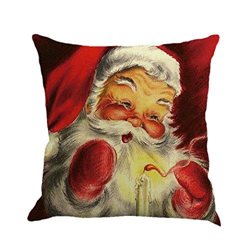 Clearance! SINMA Vintage Red Christmas Jolly Santa Clau Square Pillowcase Cushion Cover Case 18