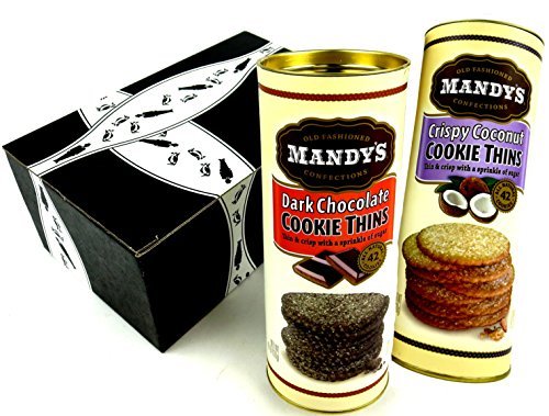 Mandy's Cookie Thins 2-Flavor Variety: One 4.6 oz Canister Each of Crispy Coconut Cookie Thins and Dark Chocolate Cookie Thins in a Gift Box