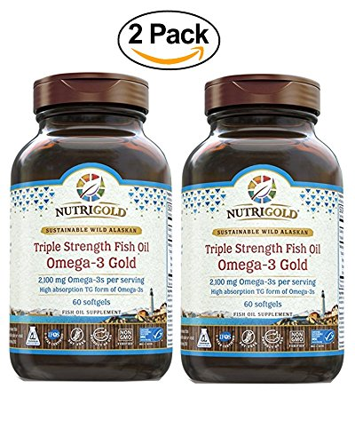 Nutrigold Omega-3 GOLD - Triple Strength - 60 Softgels - 1,250 mg (Pack of 2) by NutriGold