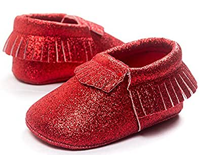 Royal Cutie Baby Glitter Moccasins Crib Shoes First Walkers - Red