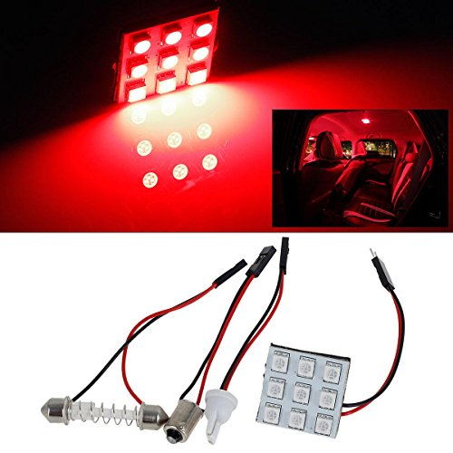 Partsam Universal Fit 4pcs Red 9-5050-SMD LED Panel Kit for Car Trunk Interior Dome Map Trunk Cargo Reading Lights Bulbs (Trunk Panel Kit)