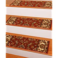 NaturalAreaRugs Sydney Carpet Stair Treads  Rug (Set of 13), 9' x 29', Red