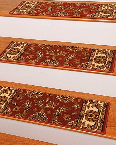 [해외]NaturalAreaRugs 시드니 카펫 계단 트레킹 러그 (13 개 세트), 9 x 29, 레드/NaturalAreaRugs Sydney Carpet Stair Treads  Rug (Set of 13), 9  x 29 , Red