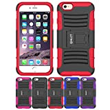 iPhone 6S Case, iPhone 6 Case, HLCT Rugged Shock Proof Dual-Layer Case with Built-In Stand Kickstand (Red)