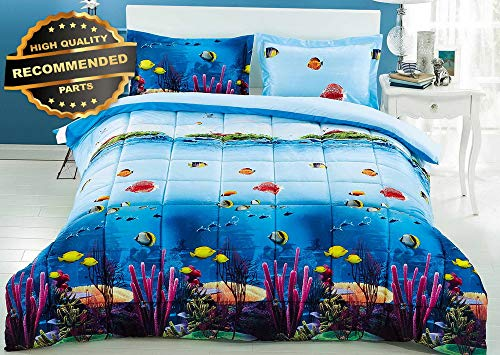 Gatton Premium New Homechoice 3 Piece Set 3D Corals and Fish Print Comforter King | Style Collection Comforter-311013030 ()