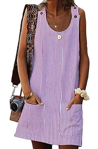 (BTFBM Women Scoop Neck Sleeveless Button Tank Top Striped Casual Summer Shirt Short Dress with Two Front Pockets (Stripe 1 - Pink, Small))