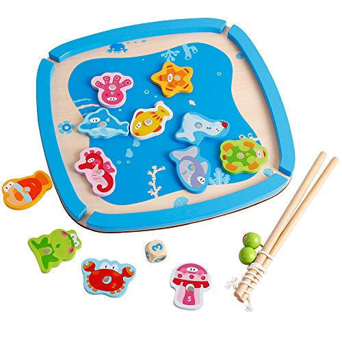 Baby Magnetic Fishing Game Board Wooden Jigsaw Puzzle Educational Toys - 5