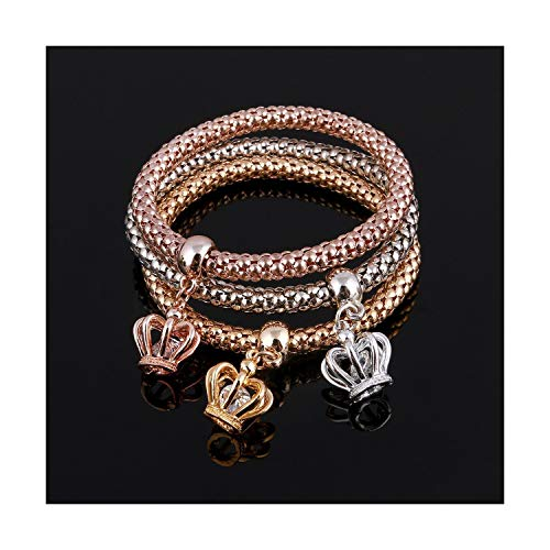 HANBINGPO 3 Pcs/Set Crystal Owl Heart Charm Bracelets & Bangles Gold/Silver Plated Elephant Anchor Pendants Rhinestone Bracelets for Women,SL718