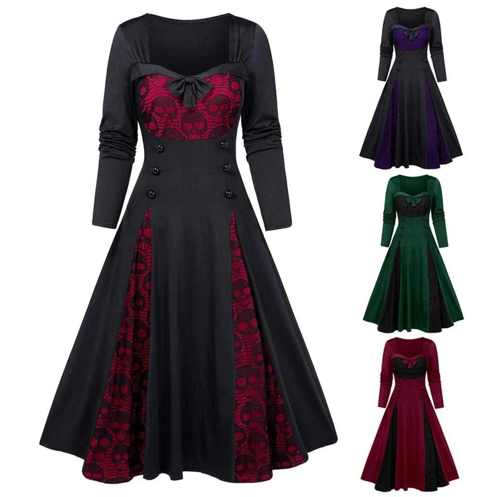 Women Plus Size Punk Gothic Skull Lace Insert Mock Button Bowknot Dress