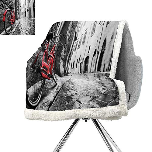 Bicycle Decor Blanket Small Quilt,Classic Bike on Cobblestone Street in Italian Town Leisure Charm Artistic Photo,Red Black and White,Degrees of Comfort Weighted Blanket W59xL47 Inch