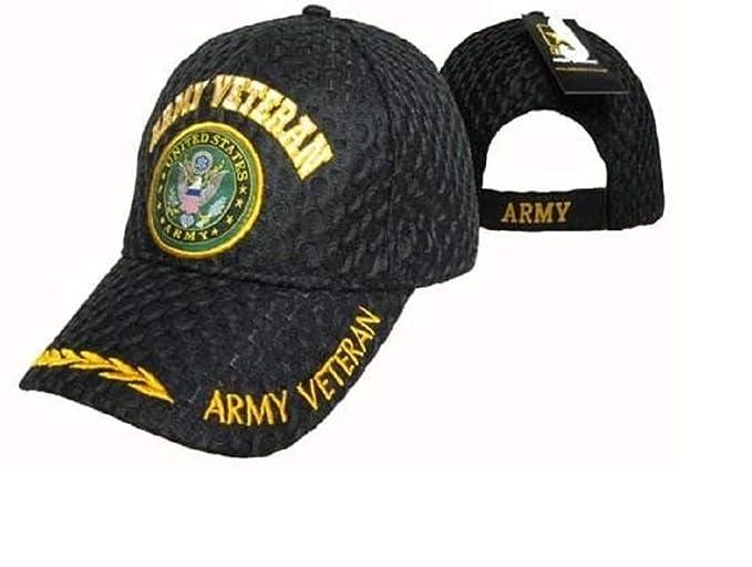 33728dfaf US Army Veteran Vet Textured Mesh Black Ball Cap Hat Embroidered 3D ...