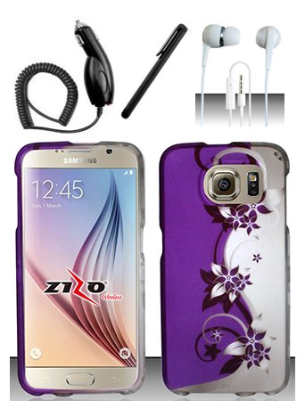 4 Items Combo For Samsung Galaxy S6 Purple Silver Vines 2D Design Snap On Hard Case Protector Cover + Car Charger + Free Stylus Pen + Free 3.5mm Stereo Earphone Headsets