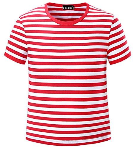 Ezsskj Kids Boys Children's Toddler Striped T Shirts Short Sleeve Crew Neck Stripes Tee Red White 5