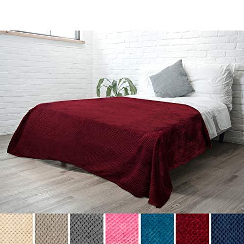 Flannel Premium - PAVILIA Premium Flannel Fleece Bed Throw Blanket for Sofa Couch | Wine Waffle Textured Soft Fuzzy Blanket | Warm Cozy Microfiber Plush | Twin Size 60 x 80 | Lightweight, All Season