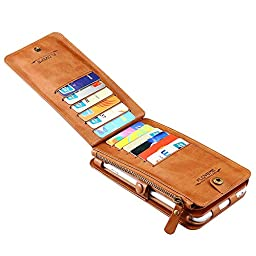 iPhone 6 / 6s Plus Case, Moyooo [Wallet Series] Vintage 2 in 1 Zipper Magnetic Leather 18 Card Slots Handbag 360 Degree Full Protection Flip Pouch Kickstand Cover (iPhone6/6s Plus, Brown)