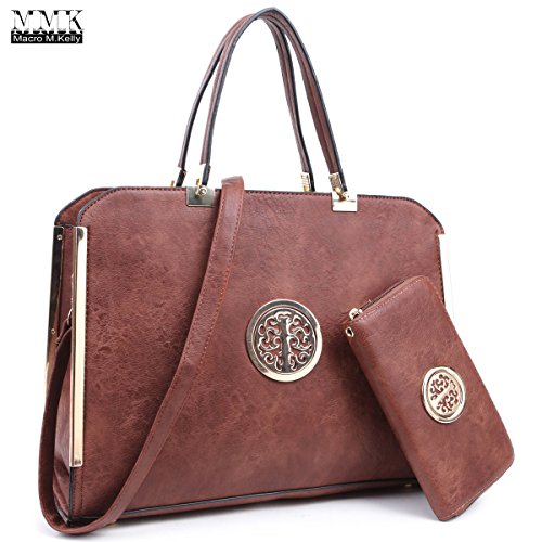 MMK Collection Fashion Women Padlock and Briefcase Stitching Design Style(7166) Handbag ~Signature fashion Designer Women Satchel Purse~Nice colors~Best Satchel style and Hobo purse (13-MA-6900W-CF)