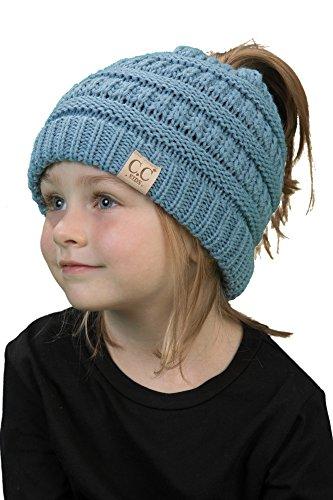BT2-3847-73 Kids Messy Bun Ponytail Winter Knit Hat Girls Beanie Tail - Denim