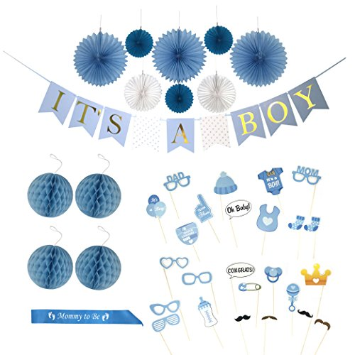 Baby Shower Decorations for a Boy | 'IT'S A BOY' Gold Foil Lettered Banner, FUN 25 Piece Photo Props, 'Mommy to Be' Sash, Honeycomb Balls, Paper fans, Nursery room Decor Kit