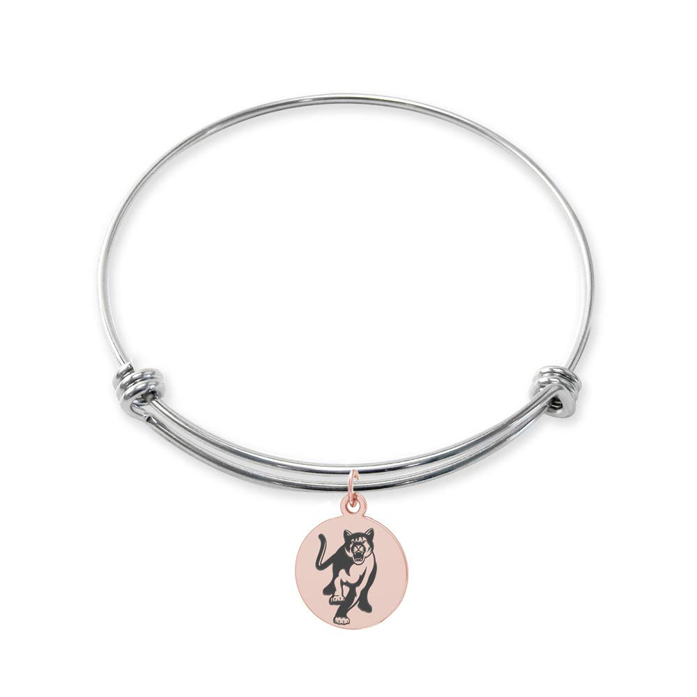 College Jewelry Columbus State University Cougars Stainless Steel Adjustable Bangle Bracelet with Rose Gold Plated Round Charm