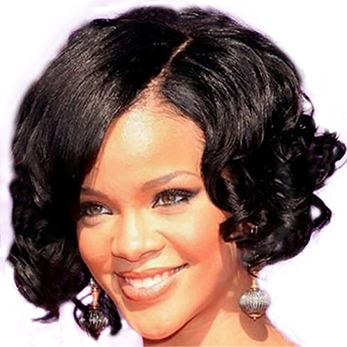 MEIFAN WIG Black Short Curly Wigs Pelucas De Cabello Natural Synthetic Hair Halloween Party Wigs For Black Women