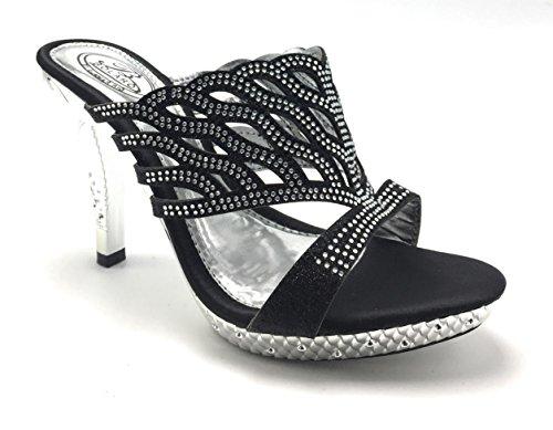 Femmes Paillettes Strass Wedge Talon Peep Toe Habillé Prom Délicatesse Sandale Chaussures Noir / Bolaro-1506