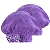SOFTOWN Microfiber Hair Drying Cap Ultra Absorbent for Short Hair, 2 Pack, Purple, 9 x 12 inch
