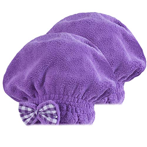 SOFTOWN Microfiber Hair Drying Cap Ultra Absorbent for Short Hair, 2 Pack, Purple, 9 x 12 inch by SOFTOWN