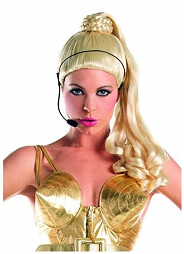 Price comparison product image Madonna Ponytail Wig with Faux Microphone (Blonde)