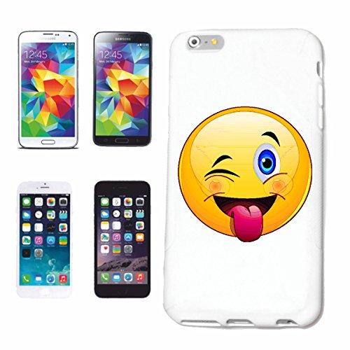 """cas de téléphone iPhone 6S """"SMILEY clin """"SMILEYS SMILIES ANDROID IPHONE EMOTICONS IOS grin VISAGE EMOTICON APP"""" Hard Case Cover Téléphone Covers Smart Cover pour Apple iPhone en blanc"""