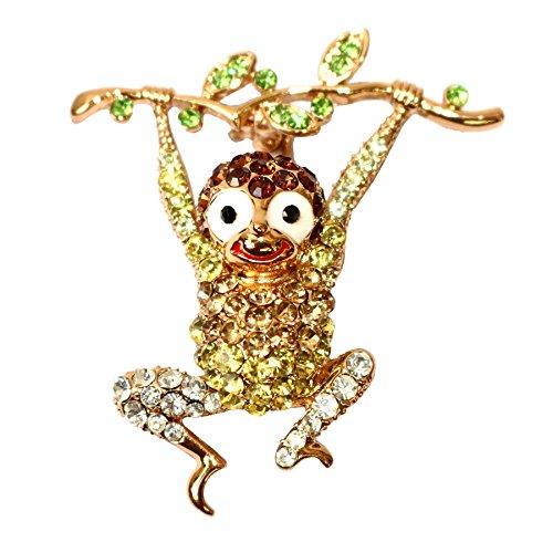 - Navachi 18k Gold Plated Yellow Crystal Monkey Az7305b Brooch Pin