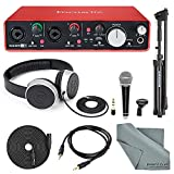 Focusrite Scarlett 2i4 USB Audio Interface (2nd Generation) with Deluxe Accessory Bundle Including Samson VP10X- Microphone Value Pack, Samson Studio Headphones, and an Auxiliary Cable