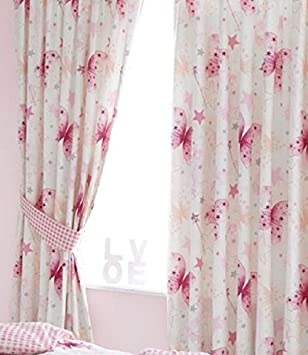 Make A Wish, Butterfly and Stars Curtains 54s: Amazon.co.uk ...