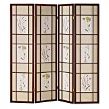 HONGVILLE Shoji Floral Prints Screen Design Wood Framed Room Divider, 4 Panel, Cherry