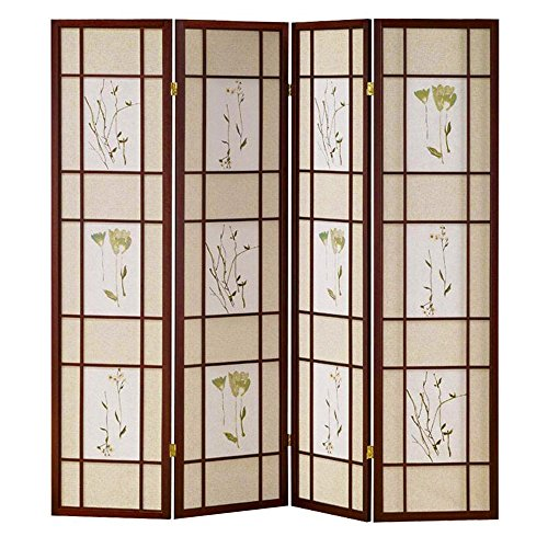 Hongville Shoji Floral Prints Screen Design Wood Framed Room Divider, 4 Panel, Cherry (Screen Wood Shoji Design)